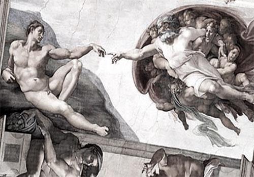Фреска в Риме «Сотворение Адама»