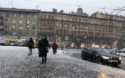 Мокрый теплый снег в Питере