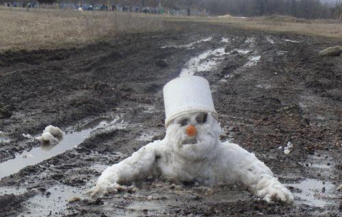 Снеговик из грязи   теплая зима