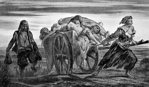 Везут погибших от чумы