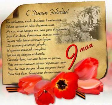 день победы поздравление с Тюльпанами
